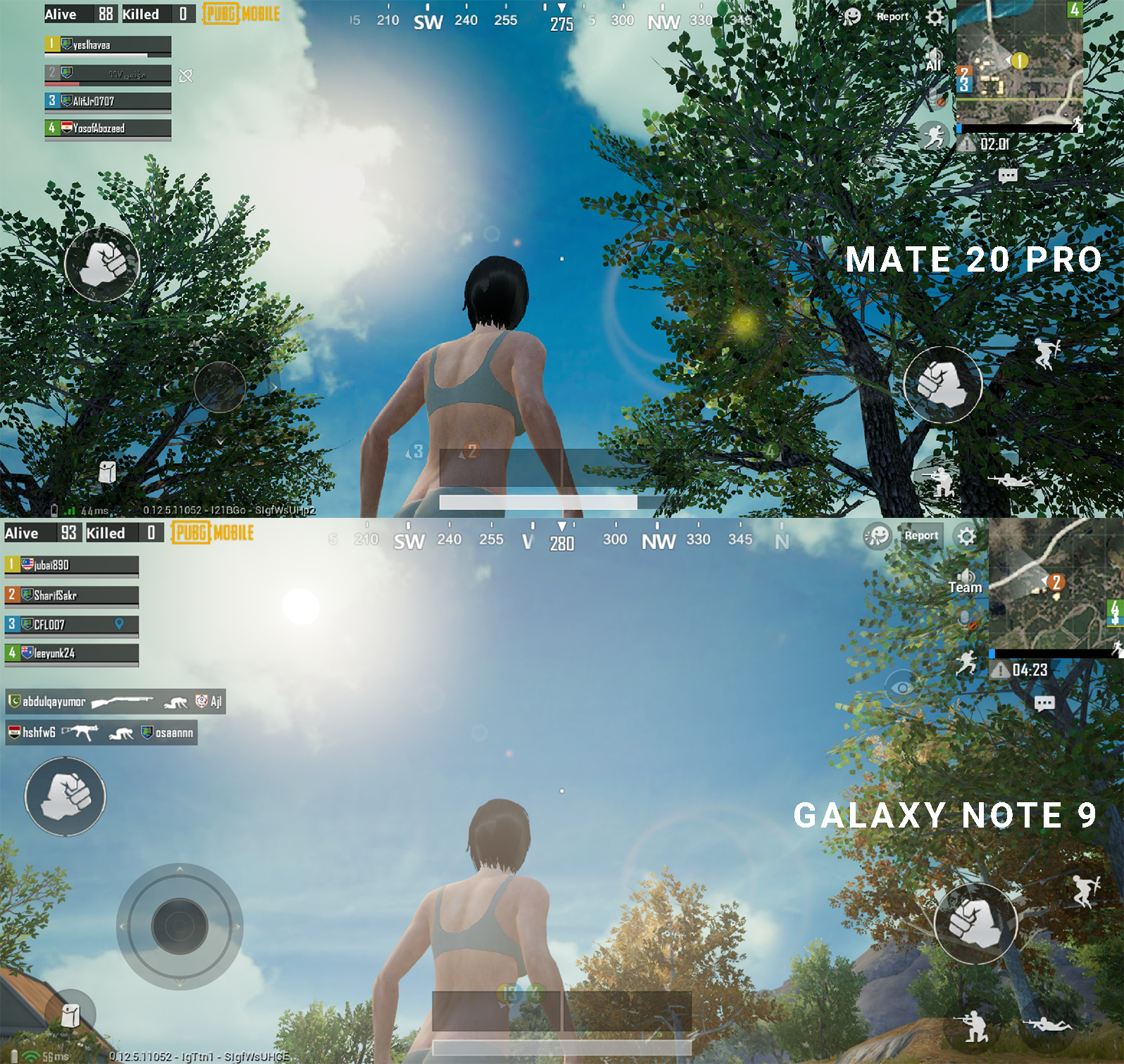 Mate 20 Pro vs Note 9 HDR PUBG comparison